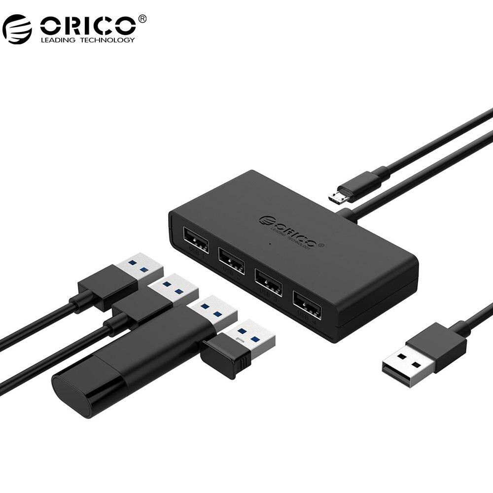 ORICO Mini 4 Port USB 2.0 HUB High Speed Micro Port HUB  for MacBook Laptop Tablet Computer -Black/White