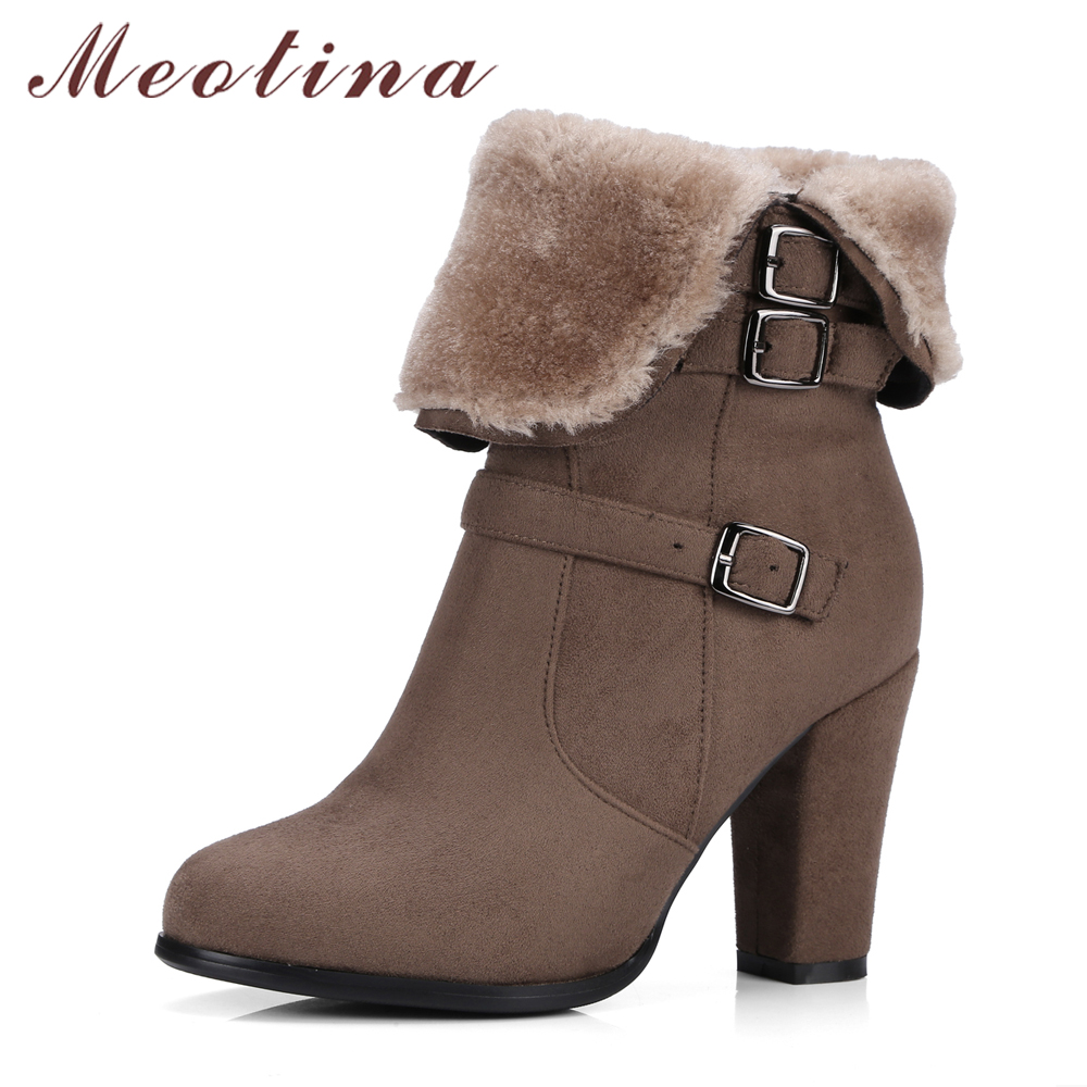 Meotina Winter Boots 2017 Fur Ankle Boots High Heels Boots Zip Brand Design Buckle Autumn Thick Heel Women Shoes Big Size 34-43