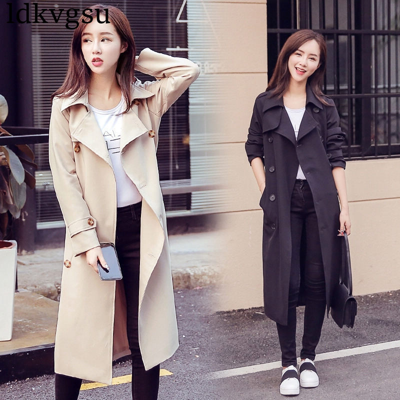 2019 New Women's Spring Autumn Double Breasted Long   Trench   Coat Casual Plus Size Windbreaker Outerwear Lady Slim Overcoat A785