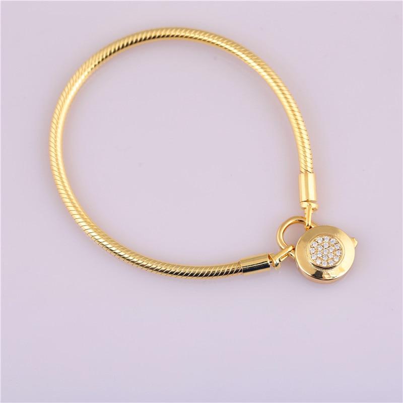 2018 serpent os chaîne 925 bracelet en argent sterling cz d'origine golden snake chaîne ronde logo clip bracelet