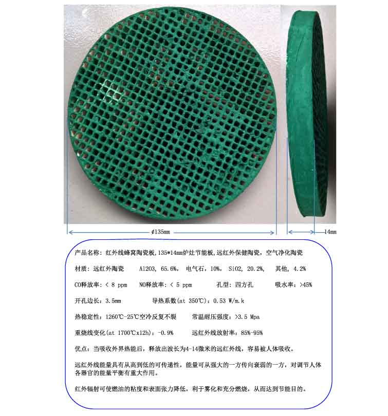 Infrared honeycomb ceramic plate, 135*14mm energy saving board, far infrared health ceramics цена 2017