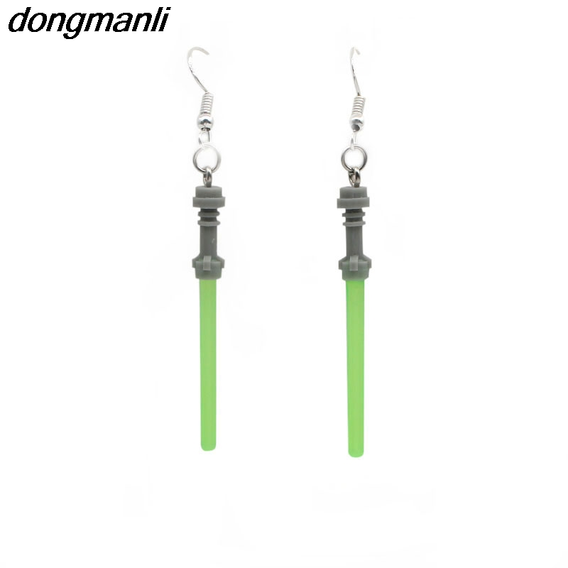 F81 Fashion Star Wars Lightsaber 925 Drop Dangle Silver Earrings For Women Movie Jewelry Cool Earrings Fans Gift