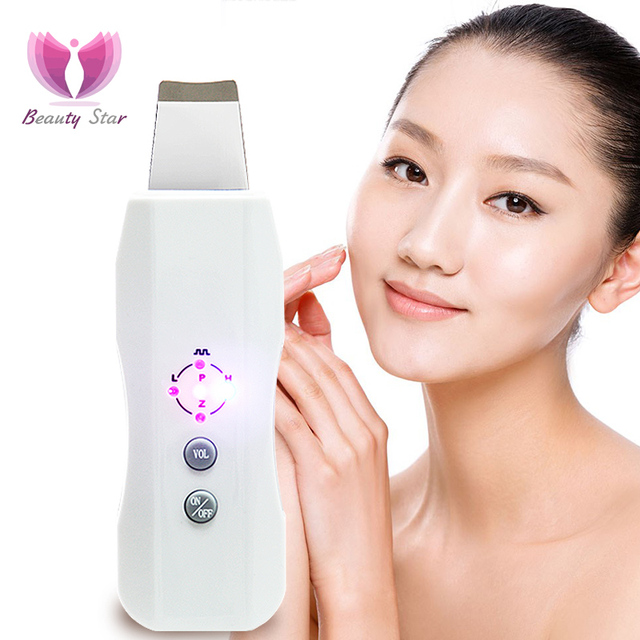 Beauty Star Ultrasonic Skin Scrubber Ultrasound  Facial Skin Cleaner Anion Ultrasonic Face Skin Peeling Massager Facial Scrubber