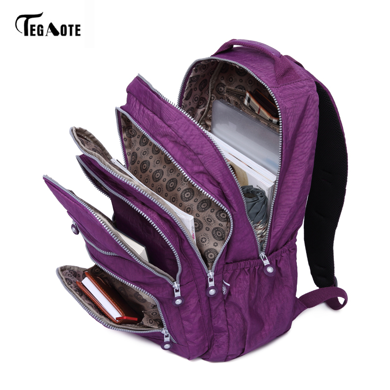 TEGAOTE escuela bolsa de Nylon impermeable marca portátil mochilas para adolescente mujeres mochila de hombro bolsas de ordenador Packsack