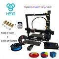 HE3D EI3-Tricolor Triplo Extuder tamanho grande prusa i3 auto nível e3d bocal de alta precisão grande área buid kit impressora 3d