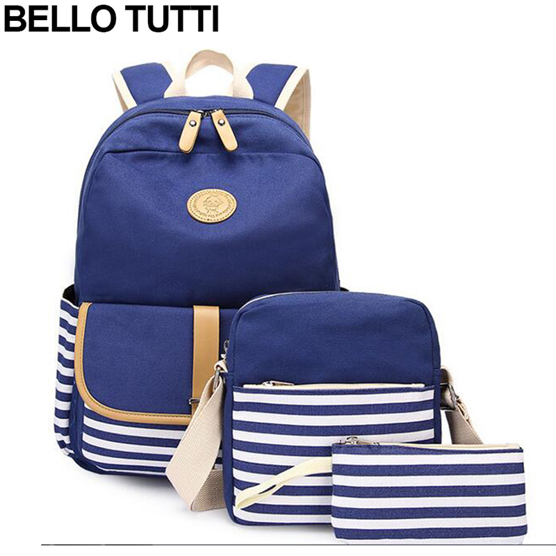 BELLO TUTTI Three-Pieces Set Girl Backpacks Woman Canvas School Bags Students Backpack For Teenager Book Bag Female Schoolbag japan and korean style backpacks for women cute cotton dotted printed school bags for teenager girl students xb452
