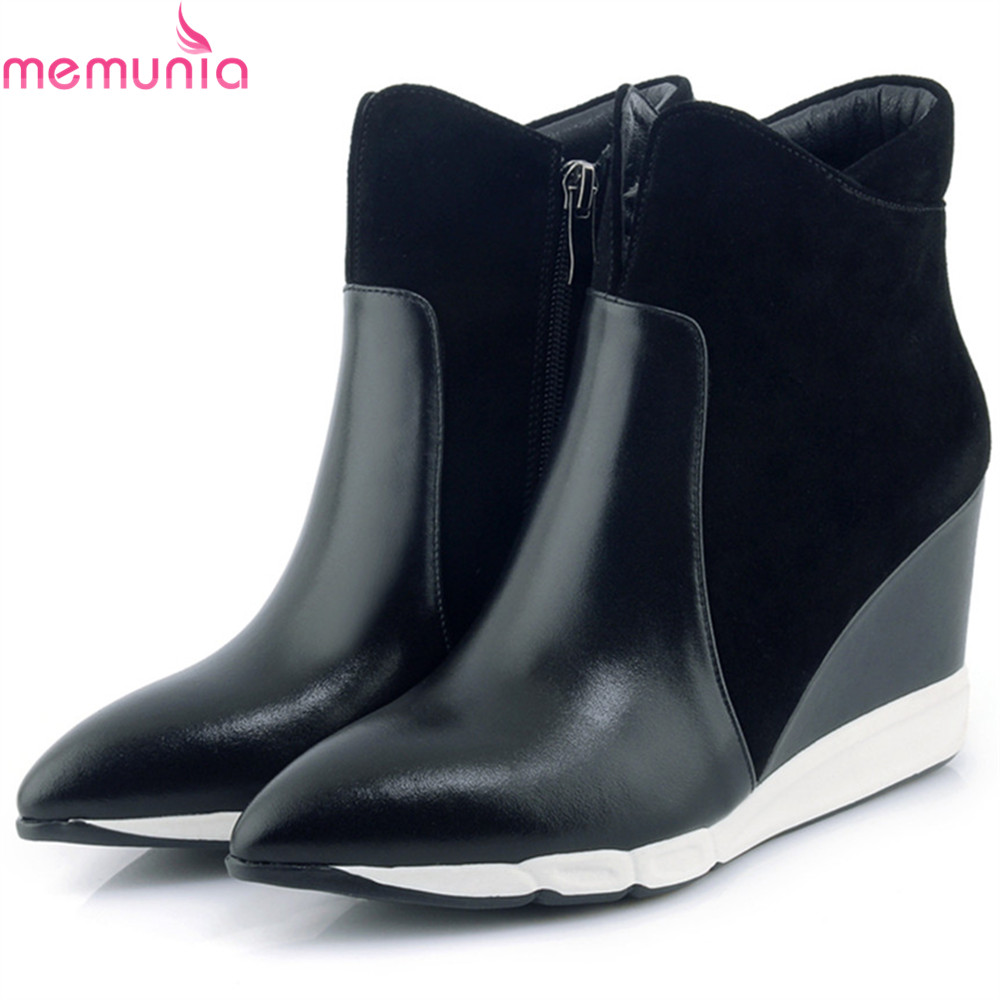 MEMUNIA 2018 fashion autumn winter women boots pointed toe genuine leather+cow suede boots zipper wedges ankle boots туфли zenden collection zenden collection ze012amvsa51