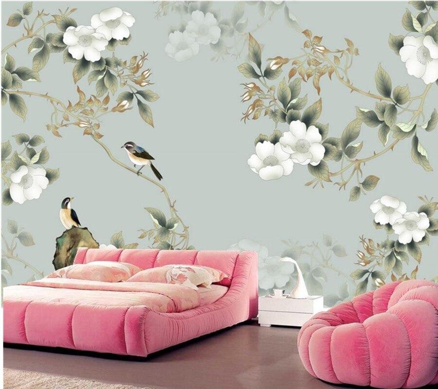Custom 3d wallpaper muralChinese style flower and bird wallpaper