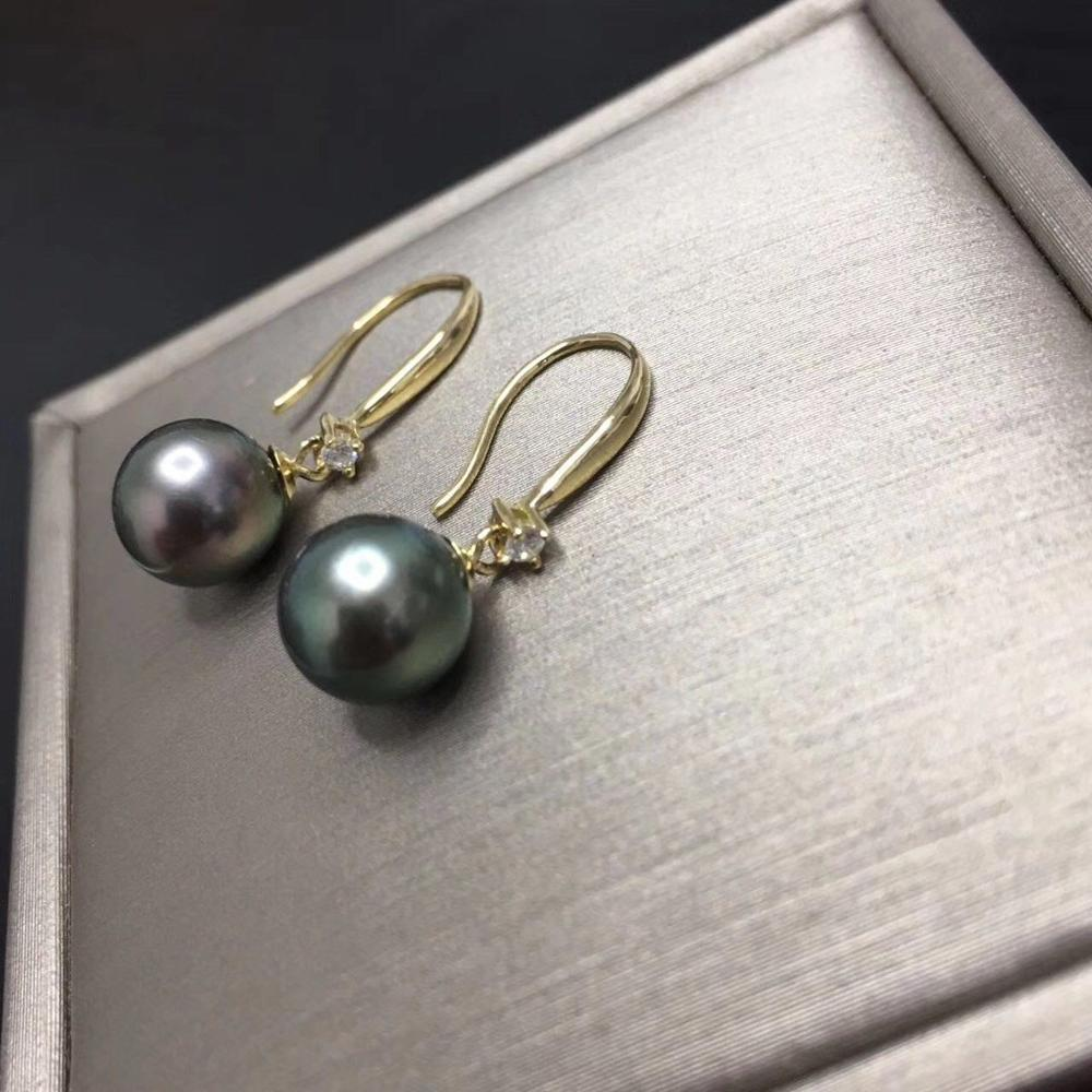 stunning pair of 10-11mm lack green round pearl earring 18kstunning pair of 10-11mm lack green round pearl earring 18k