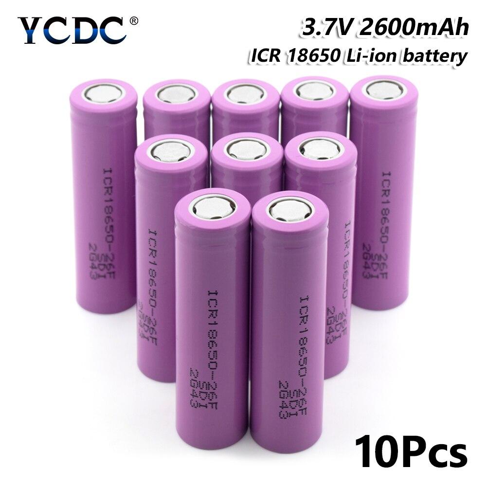 18650-26F 3.7 V 2600 mAh Li-ion batterie Rechargeable pour batterie externe torche 10 pièces pour stylo Laser lampe de poche LED support de batterie de cellules