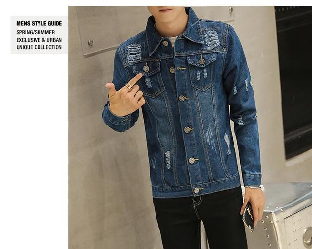 Giacca di jeans da uomo di alta qualità di modo Jeans Giacche Strappato  Fori Slim fit f331145252a