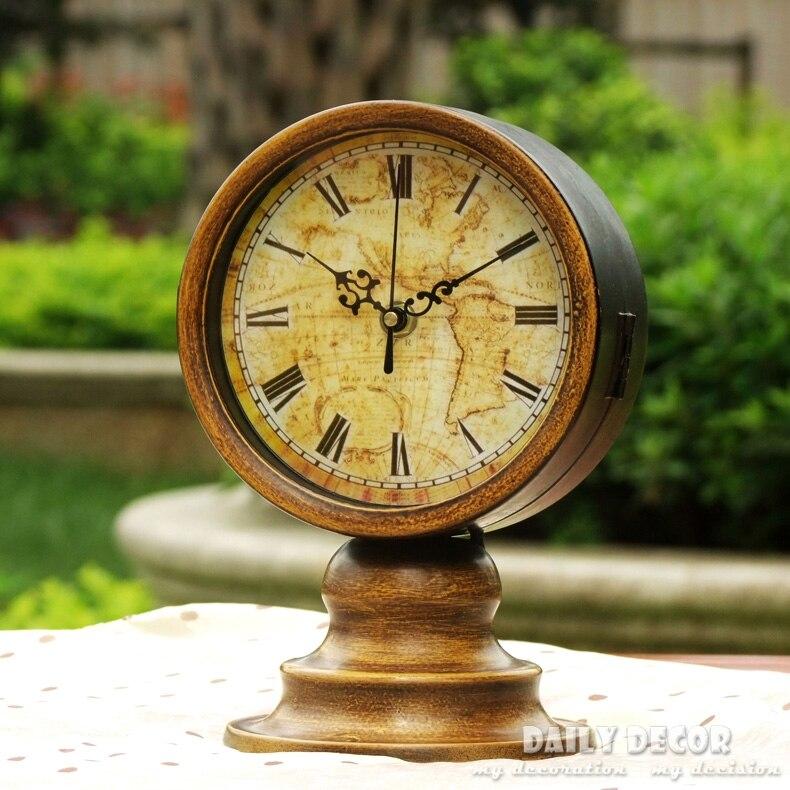 Relojes de escritorio de doble cara de metal vintage de alta calidad con soporte antiguo para decoración de oficina, reloj de mesa de reloj de tiempo Para el abuelo