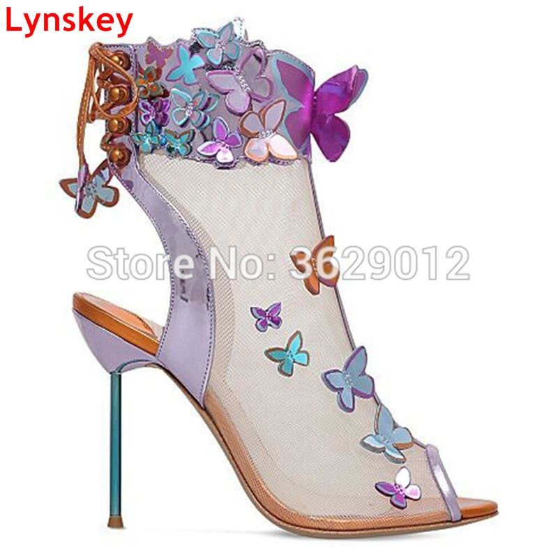 Lynskey Summer Ankle Boots Mesh Botas Embellished with Butterflies Open Toe Lace Up High Heel Booties Zapatillas Mujer pink sequins embellished open back lace up top
