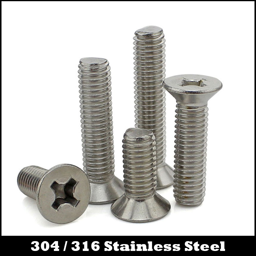 M4 M4*10/12/14/16/20 M4x10/12/14/16/20 304 316 Stainless Steel ss DIN965 Philips Cross Recessed Countersunk CSK Flat Head Screw 50 pieces metric m4 zinc plated steel countersunk washers 4 x 2 x13 8mm