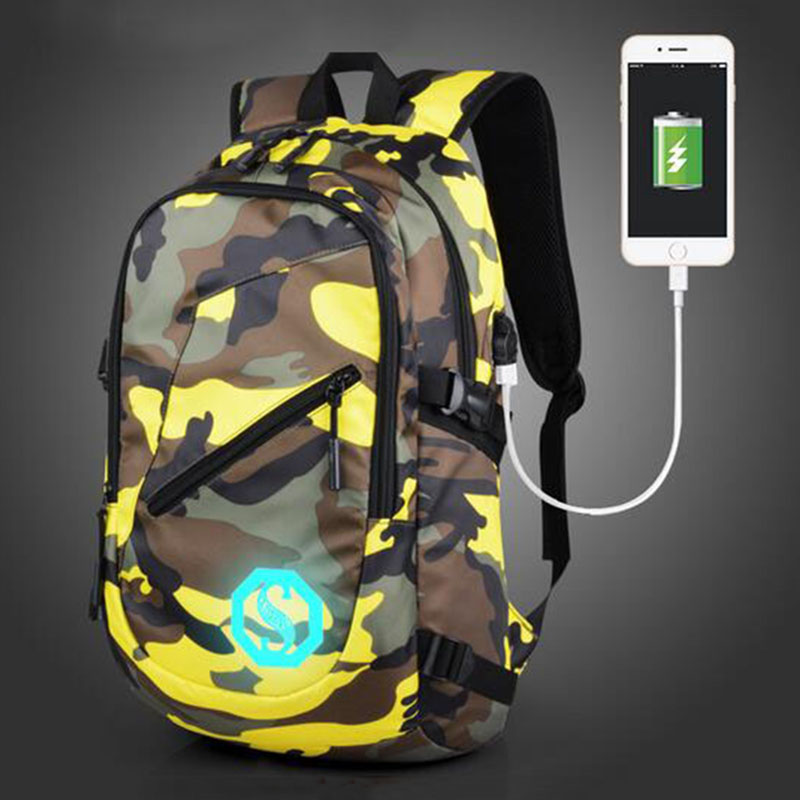 Senkey Style Canvas Men Backpack USB Charge School Bags For Teenagers Printing Laptop Designer Backpack Camouflage