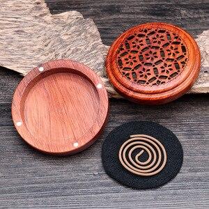 Image 2 - Vietnam Rosewood incense box sandalwood incense burner Hours Coil Censer With magnetic cover tea room Home Decoration supplier