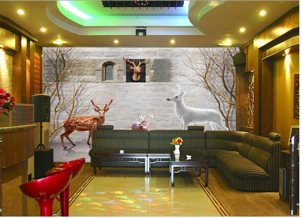 ФОТО Rural retro white deer woods 3d customized wallpaper 3d murals wallpaper for living room Home Decoration
