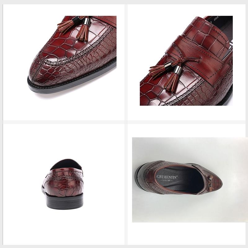 Trabajo Cuero Deslizamiento Cocodrilo brown Vestir Borla Marrón Genuino Hombres Black En De Italianos Negocio Del Para El Zapatos Masculinos Grimentin ZqX0z0