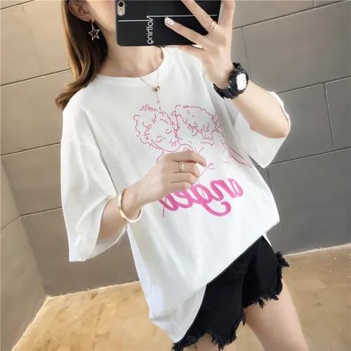 Fashion T Shirt for Women Angel printed Short Sleeved O-neck T-shirts Vintage Vogue Ullzang Tshirt Harajuku 90s Top Tees Female