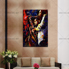 100% расписанную масляная живопись Джаз Современная Original Абстрактная Картина на холсте афроамериканец искусство джазовый саксофонист