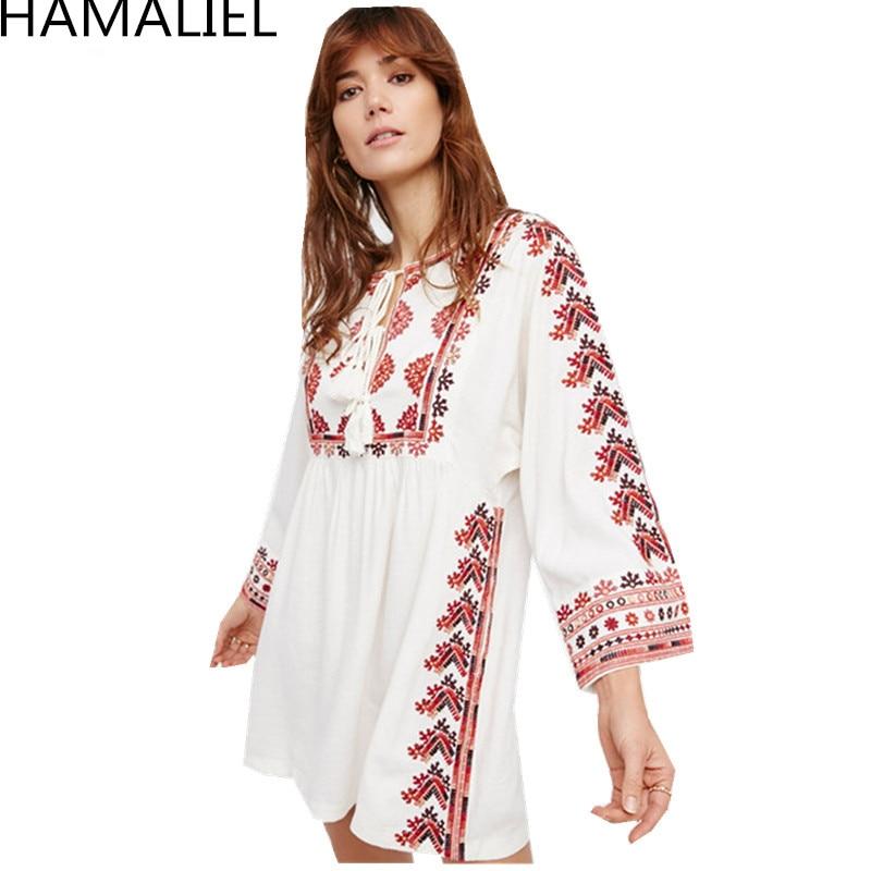HAMALIEL Bohemia Summer Mini Dress 2018 Runway Women White Embroidery Floral Cotton Long Sleeve Ladies Casual Loose Beach Dress все цены
