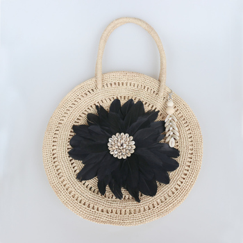 Free Shipping Fashionable Summer Handmade Lafite Grass Bag Beach Bag with Feather Decor Large capacity single shoulder Lady Bag
