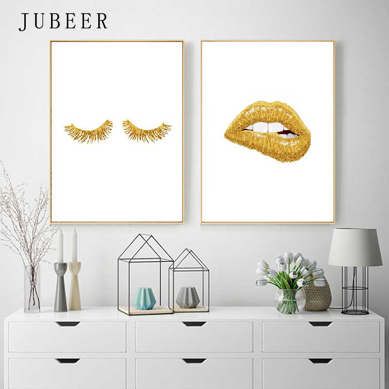 JUBEER Gold Lip Art Fashion Poster Prints Sexy Lips Wall Art Canvas Painting Lashes Print Wall Picture Nordic Style Salon Decor