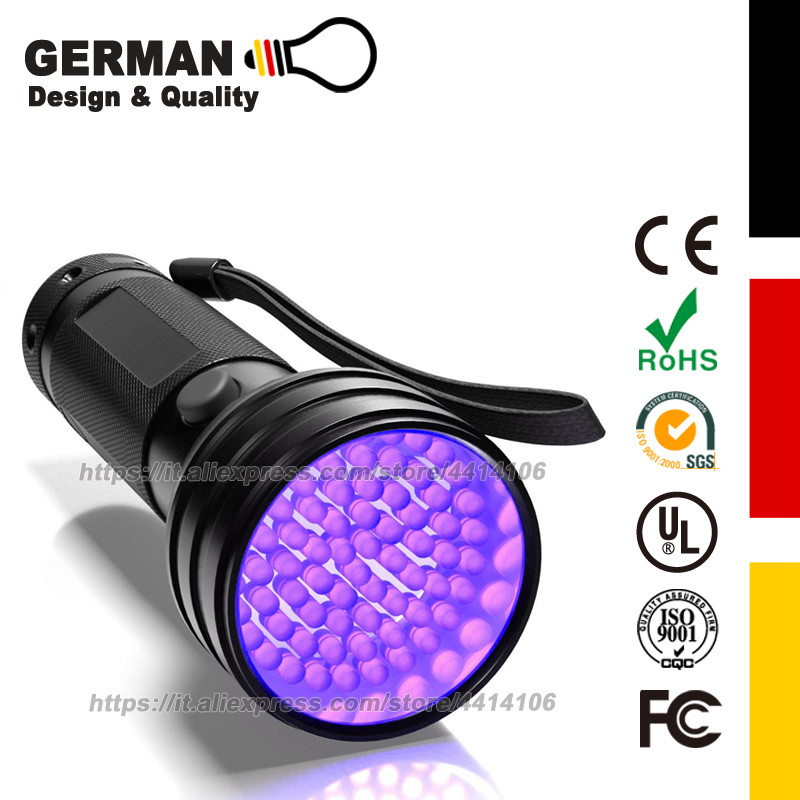 <font><b>UV</b></font> Flashlight Black Light, 51 <font><b>LED</b></font> <font><b>395</b></font> <font><b>nM</b></font> Ultraviolet Blacklight Detector for Dog Urine, Pet Stains and Bed Bug image