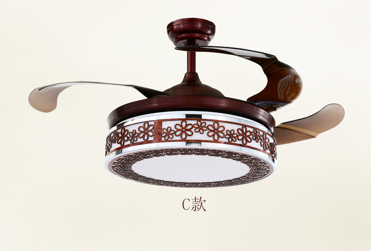 Retro Chinese Ceiling Fan LED Lights Restaurant Living
