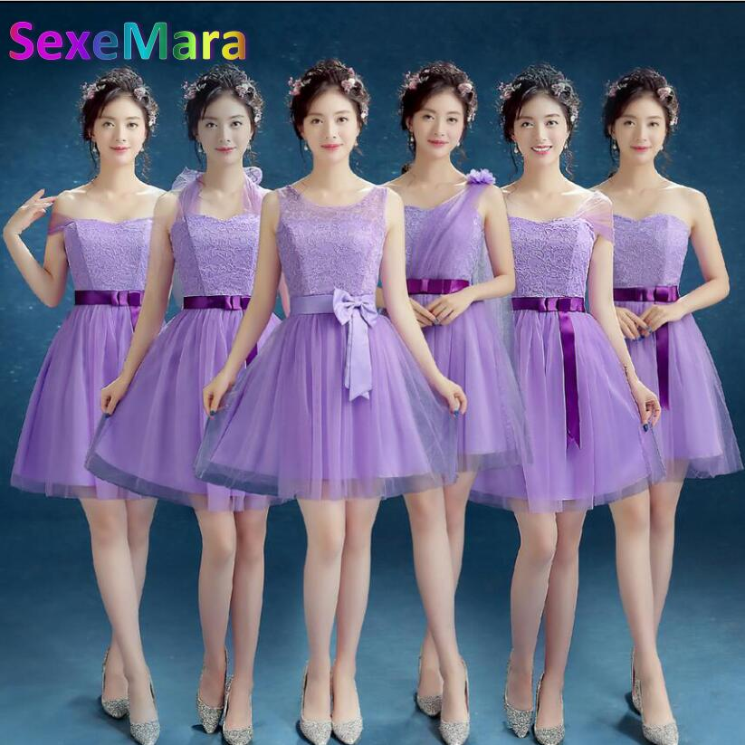 Aliexpress.com : Buy Purple Short Bridesmaid Dresses 2017 and 2017 ...