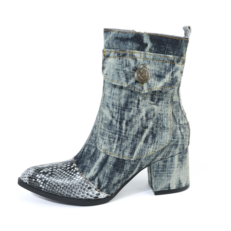 2019Spring Python Leather Ankle Boots  Women Street Washable Denim Cloth Ankle Boots   Chunky Heel  mid heel2019Spring Python Leather Ankle Boots  Women Street Washable Denim Cloth Ankle Boots   Chunky Heel  mid heel