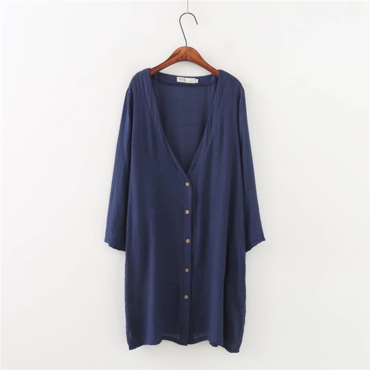 Summer Cotton Linen Cardigan Women Solid Color Plus Size Long Sleeve Shirt ...
