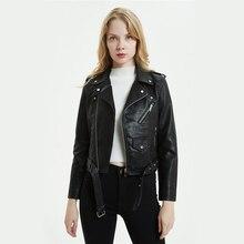 Gran tamaño 3XL Pu chaqueta de cuero mujeres colores brillantes negro  motocicleta abrigo corto Faux Leather Biker chaqueta suave. bb85290cb1b