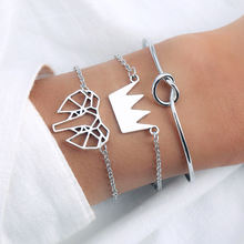 Fashion 3 pieces / set bracelet jewelry knotted bracelet crown personality street shoot new bracelet female(China)
