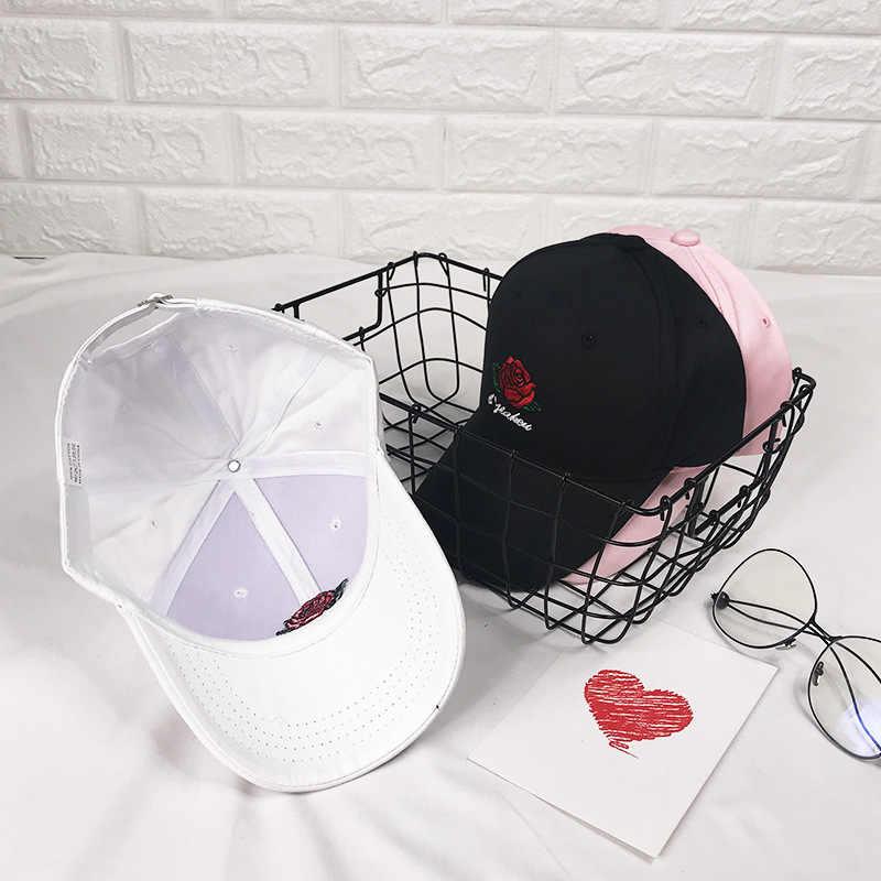Nueva gorra de béisbol Rosa gorra Snapback flor verano bordado curvo primavera Snapback gorras hombres Trapback Hip Hop sombreros hueso