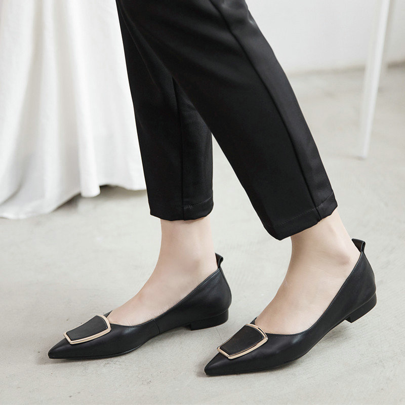 Comfort Genuine Leather Low heel Shoes Woman Fashion pointed toe Spring Shoes Ladies lazy party shoes