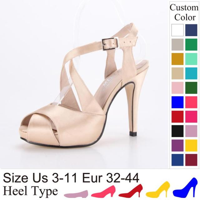 High Heel Buckle Wedding Shoes Summer Sandal Champagne Color Women Pumps  Dress Sandal Shoes Large Size