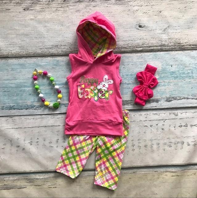 Новорожденных девочек весна лето одежда девочек Пасхальный кролик костюмы chlidren Пасхальная вечеринка одежда без рукавов с аксессуарами