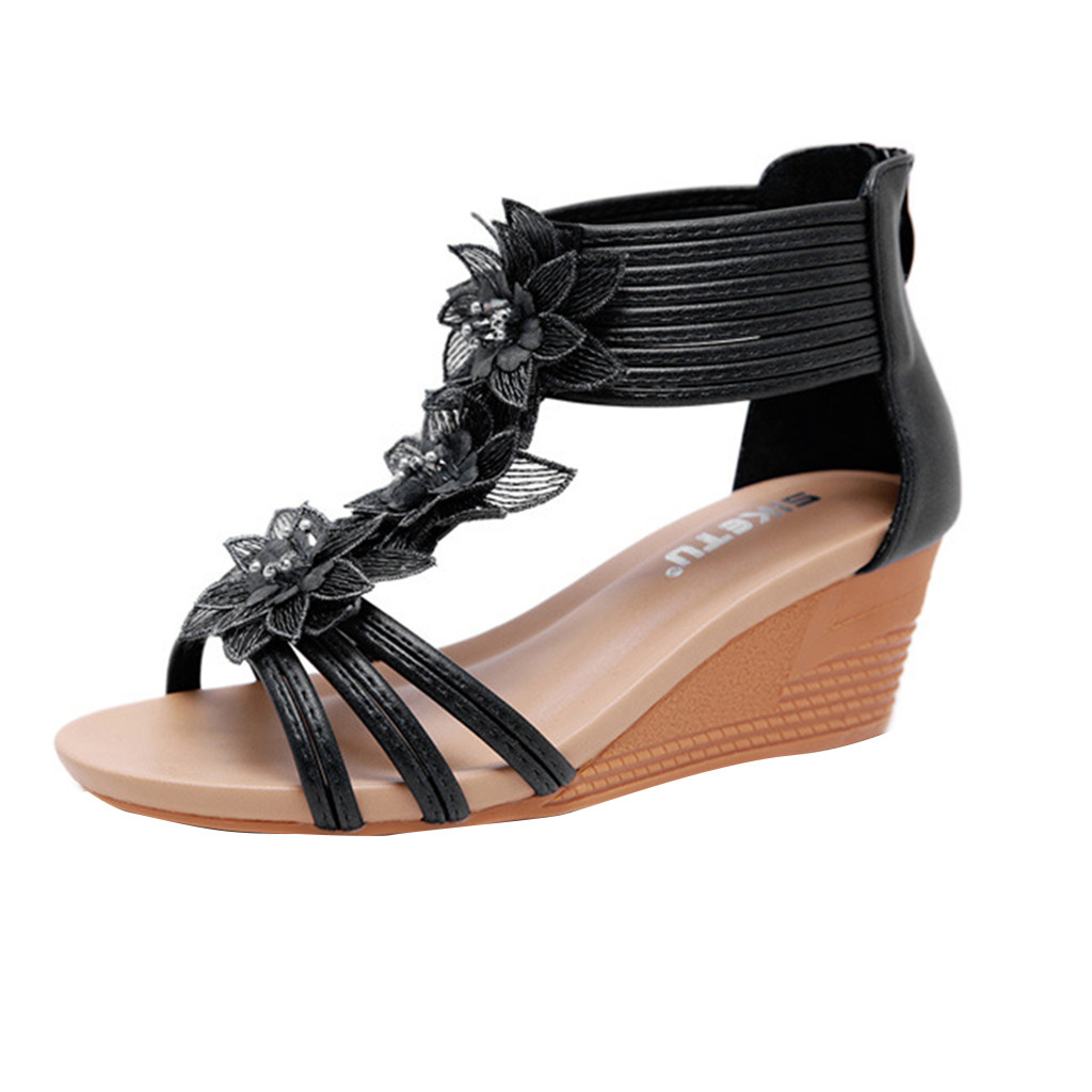 Jaycosin 2019 shoes Women Summer Sandals New Sloping Heels Of New Roman Style Flowers Wedges Slipper Shoes 1