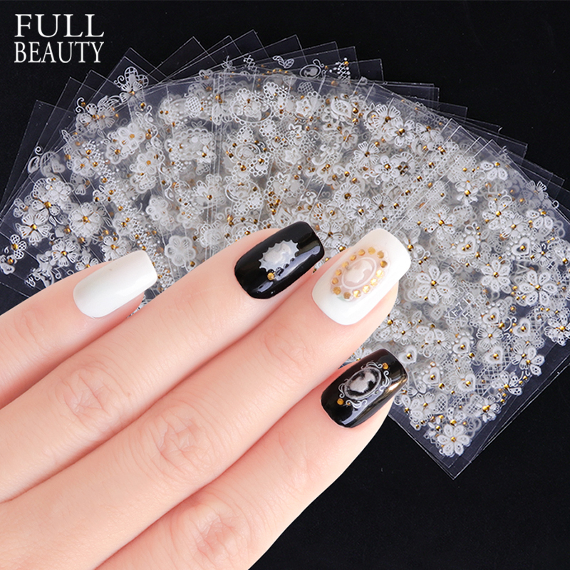 Full Beauty 30pcs Sets 3D Embossed Nail Sticker 3D Tips White Blooming  Flower DIY Adhesive Decal Nail Art Charms CHXF699-722 357aa6f4ce6f