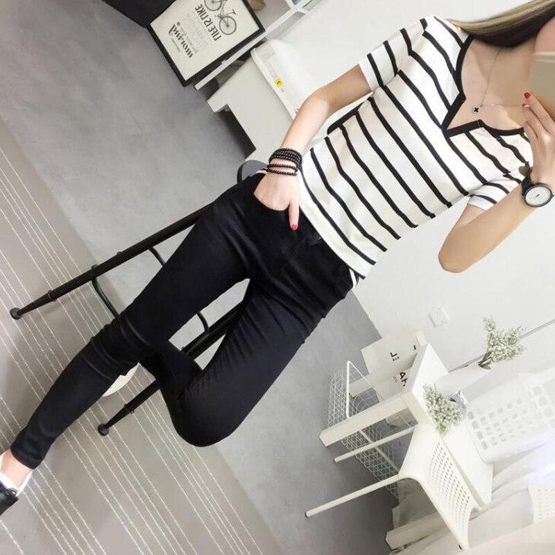 a3869f362 Ladies Korean T Shirts 2018 Summer Fashion Striped Female T Shirt Slim  Short Sleeve V Neck Cotton Tshirt Casual Basic Lady Tees-in T-Shirts from  Women's ...