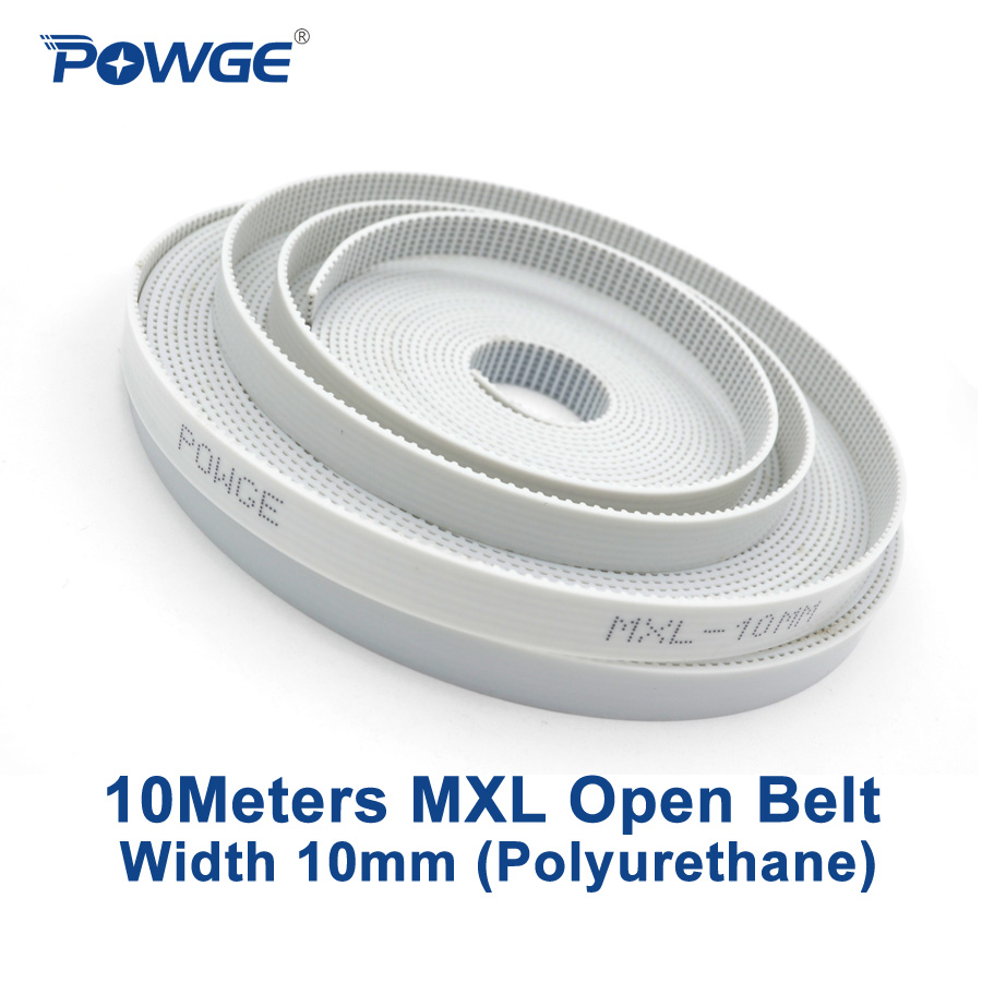 POWGE 10Meters MXL Open timing belt MXL-10 Width 10mm Pitch 2.032mm MXL Synchronous belt polyurethane with steel PU MXL Belt mxl timing belt 302 320 362 403 456 510 518 608 640 764 810mxl 6mm 10mm belt width 2 032mm pitch rubber synchronous timing belt