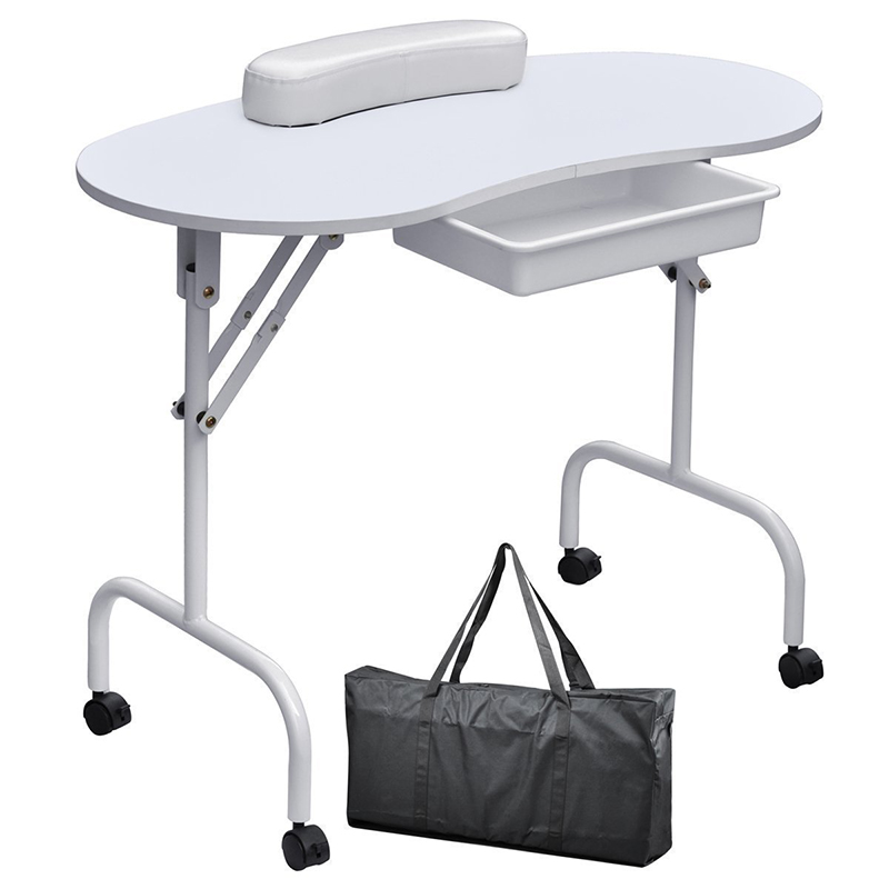 High Quality Portable Manicure Nail Art Table Station Desk Spa Beauty Salon Equipment For Nails Foldable Nail Table Black White