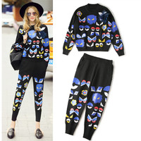 2016 Brand Runway Knitted Pants Suits Women High Quality Cartoon Eyes Fashio Sweaters And Pants Casual Sets NS550