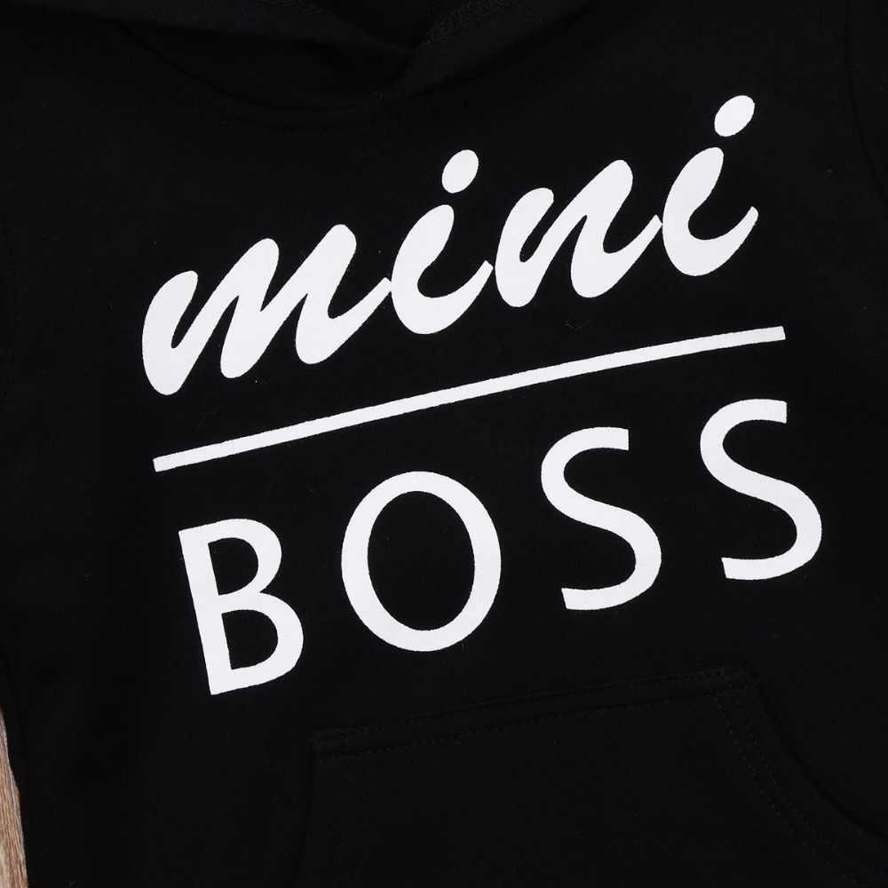 Baby Jongens Meisjes Hoodie Sweatshirt Peuter Letters Outta Mini Boss Hooded Sweatshirt Outfit Kleding 0-5Y