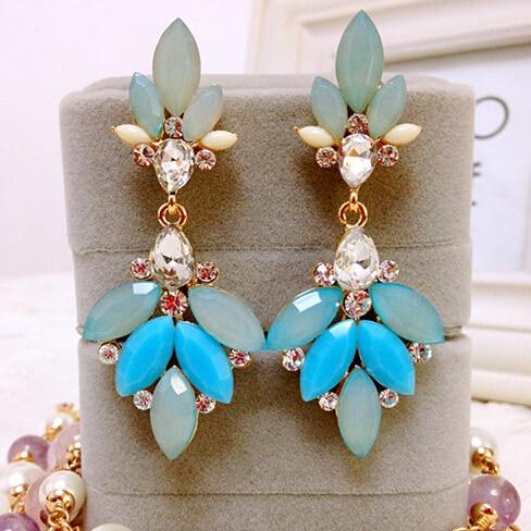 Free Shipping New 2014 Fashion font b Crystal b font Acrylic Flower Drop Earrings for Women