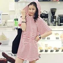 Mini Dress Clubwear Bodycon Sports-Style Sexy Stripes Womens Fashion Hooded Vestido Evening-Party