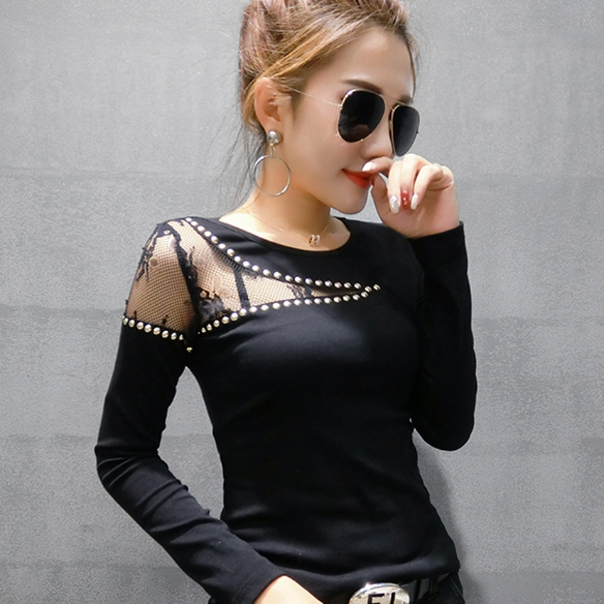 Sexy Mesh Pullover Tshirt 2019 New Spring Autumn Women Long Sleeve Patchwork Lace Hollow Out Diamonds Rivet T Shirts T91702