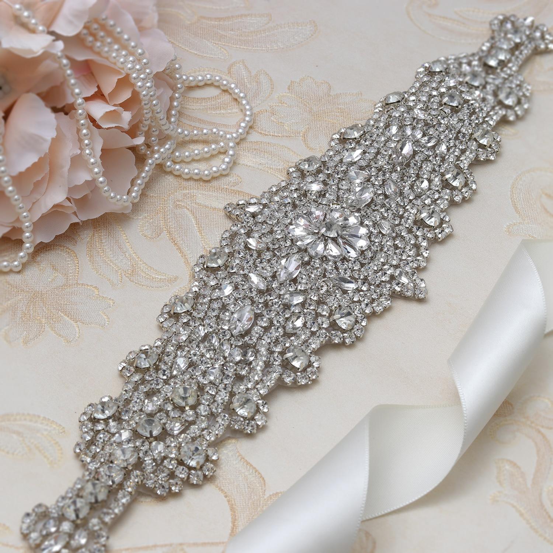 MissRDress Luxury Rhinestones Wedding Belt Big Size Crystal Bridal Sash Silver Diamond Bridal Belt For Wedding Long Dress JK859