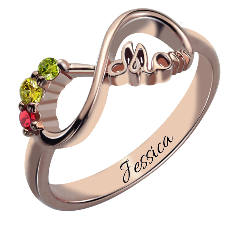 Infinity ring with 3 birthstones rose gold color mom 39 s for Infinity ring jewelry store
